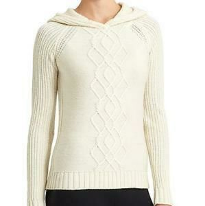 Athleta Cold Spell Marino Wool Hooded sweater MED